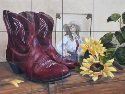 Cowgirl Booties by Debbie Hughbanks Ceramic Tile Mural - DHA062