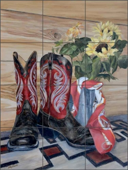 Red Boots with Scarf by Debbie Hughbanks Ceramic Tile Mural - DHA071