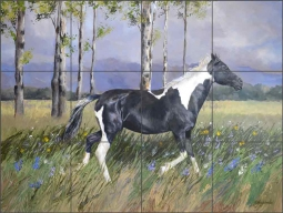 Running Free by Debbie Hughbanks Ceramic Tile Mural DHA080