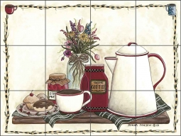 Coffee Time by Donna Jensen Travertine Stone Tile Mural - DJ001