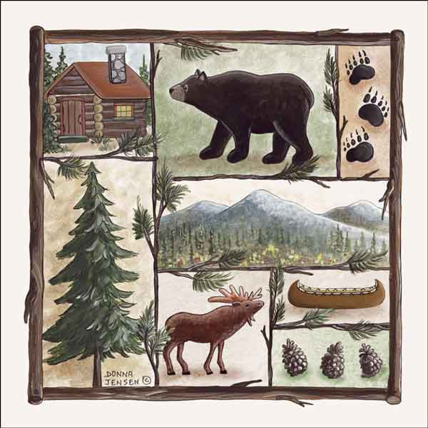 Jensen Animal Lodge Art Ceramic Accent & Decor Tile - DJ002-2AT