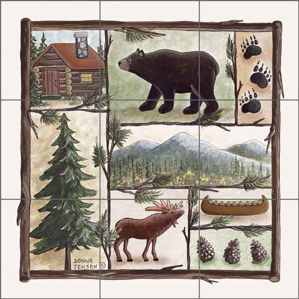 Cabin Fever II by Donna Jensen Ceramic Tile Mural DJ002-2