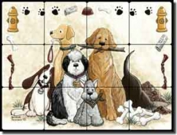"Jensen Dogs Canines Tumbled Marble Tile Mural 24"" x 18"" - DJ004"