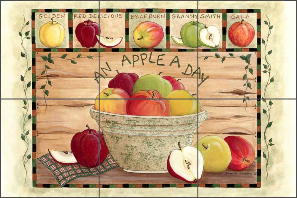 An Apple a Day by Donna Jensen Ceramic Tile Mural - DJ007