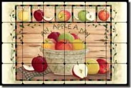 "Jensen Apple Fruit Tumbled Marble Tile Mural 24"" x 16"" - DJ007"