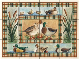 Mallards and Such by Donna Jensen Ceramic Tile Mural DJ008