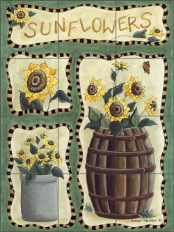Donna's Sunflowers by Donna Jensen Ceramic Tile Mural DJ009