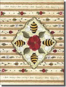 "Bee Happy  by Donna Jensen - Ceramic Tile Mural 18"" x 12"" Kitchen Shower Backsplash"