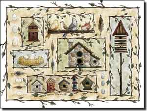 "Jensen Birds Birdhouses Ceramic Accent Tile 8"" x 6"" - DJ012AT"