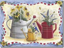 "Donna's Watering Cans by Donna Jensen - Floral Ceramic Tile Mural 12.75"" x 17"""