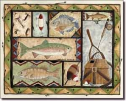 "Jensen Fishing Lodge Art Ceramic Accent Tile 10"" x 8"" - DJ017"