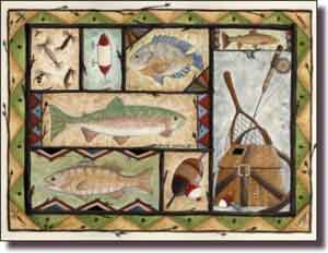 "Jensen Fishing Lodge Art Ceramic Accent Tile 8"" x 6"" - DJ017"