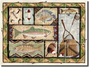 "Jensen Fishing Lodge Art CeramicTile Mural 17"" x 12.75"" - DJ017"