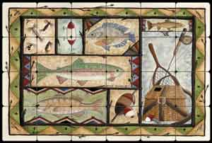 "Jensen Fishing Lodge Art Tumbled Marble Tile Mural 24"" x 16"" - DJ017"