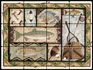 "Jensen Fishing Lodge Art Tumbled Marble Tile Mural 16"" x 12"" - DJ017"