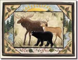 "Jensen Animal Lodge Art Ceramic Accent Tile 8"" x 6"" - DJ018"