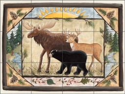 Friends of the Woods by Donna Jensen Ceramic Tile Mural DJ018