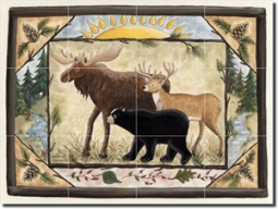 "Jensen Animal Lodge Art Glass Tile Mural 24"" x 18"" - DJ018"