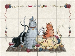 Granny's Cats by Donna Jensen Ceramic Tile Mural DJ022