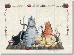 "Jensen Cat Animal Ceramic Tile Mural 17"" x 12.75"""