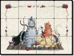 "Jensen Cat Animal Tumbled Marble Tile Mural 24"" x 18"""