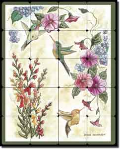 "Hummingbirds by Donna Jensen - Birds Floral Tumbled Marble Mural 16"" x 20"""