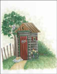 Jensen Outhouse Lodge Art Ceramic Accent Tile - DJ026AT