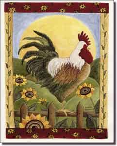 jensen rooster art ceramic accent tile 8 x 10 dj029at artwork
