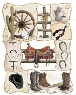 Saddle Up by Donna Jensen Ceramic Tile Mural DJ030
