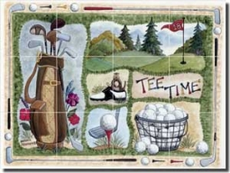 "Jensen Golf Sports Glass Tile Mural 24"" x 18"" - DJ032"