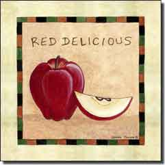 Jensen Fruit Red Delicious Apple Ceramic Accent Tile - DJ044AT
