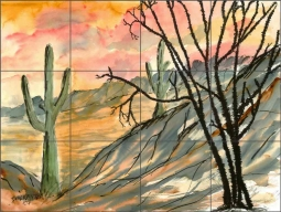 Arizona Evening by Derek McCrea Ceramic Tile Mural DMA002
