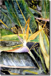 "Bird of Paradise by Derek McCrea - Floral Flowers Tumbled Marble Tile Mural 24"" x 16"" Kitchen Shower"