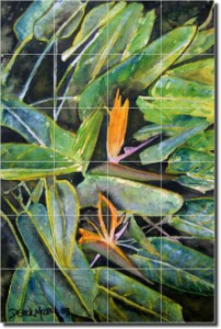 "Bird of Paradise II by Derek McCrea - Floral Flowers Tumbled Marble Tile Mural 24"" x 16"" Kitchen Sho"