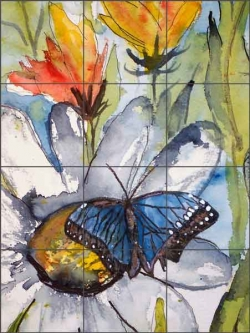 Blue Butterfly by Derek McCrea Ceramic Tile Mural - DMA005