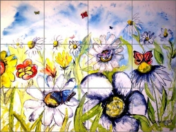 Butterflies and Flowers by Derek McCrea Ceramic Tile Mural - DMA006