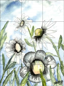 Field of White Flowers and Daisies by Derek McCrea Ceramic Tile Mural DMA010