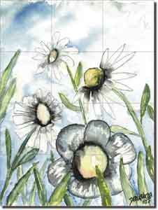 "Field of White Flowers and Daisies by Derek McCrea - Floral Ceramic Tile Mural 24"" x 18"""