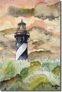 "McCrea St. Augustine Lighthouse  Ceramic Tile Mural 17"" x 25.5"" - DMA019"