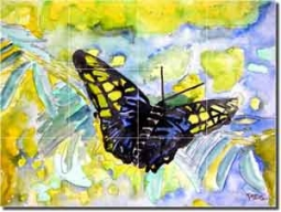 "McCrea Abstract Butterfly Ceramic Tile Mural 17"" x 12.75"" - DMA032"