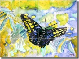 "McCrea Abstract Butterfly Floor Tile Mural 32"" x 24"" - DMA032"