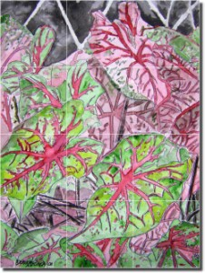 "Caladiums by Derek McCrea - Floral Plant Tumbled Marble Tile Mural 16"" x 12"" Kitchen Shower Backspla"