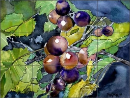 McCrea Grapes Fruit Ceramic Tile Mural - DMA052