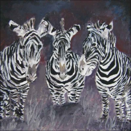 McCrea Zebras Animal Art Ceramic Accent & Decor Tile DMA057AT