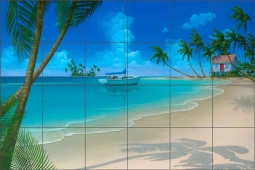 "Miller Tropical Seascape Glass Tile Mural 36"" x 24"" - DMA2002"