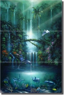 "Miller Tropical Waterfall Art Glass Tile Mural 24"" x 36"" - 12"" - DMA2005"