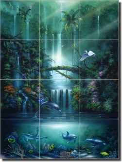 "Miller Tropical Waterfall Art Glass Tile Mural 18"" x 24"" - DMA2005"