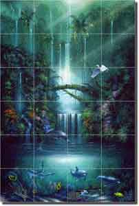 "Miller Tropical Waterfall Art Glass Tile Mural 24"" x 36"" - DMA2005"