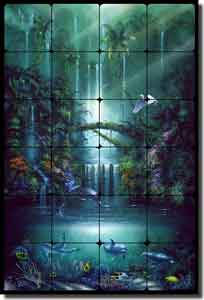 "Miller Tropical Waterfall Tumbled Marble Tile Mural 16"" x 24"" - DMA2005"