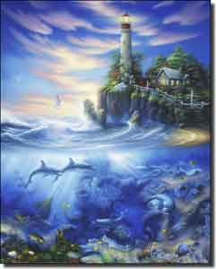 "Miller Lighthouse Undersea Ceramic Accent Tile 8"" x 10"" - DMA2006AT"